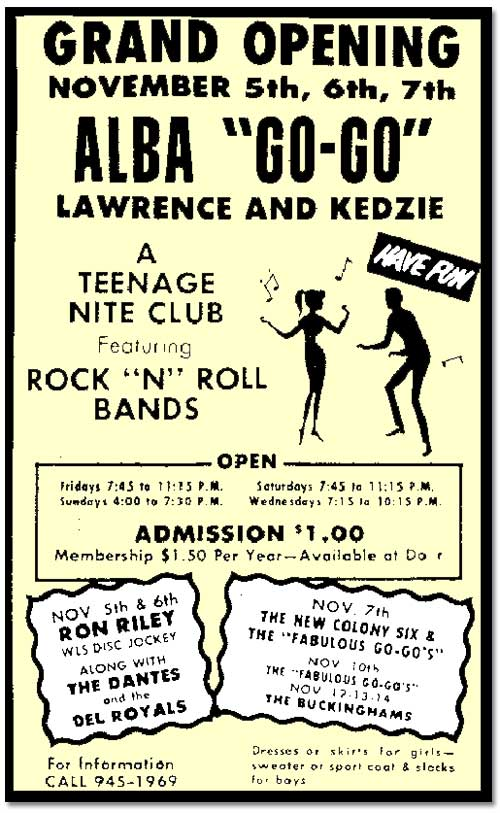 Newspaper ad from the late 1950s or early 1960s for a nightclub for teenagaers showing silhouettes of people dancing