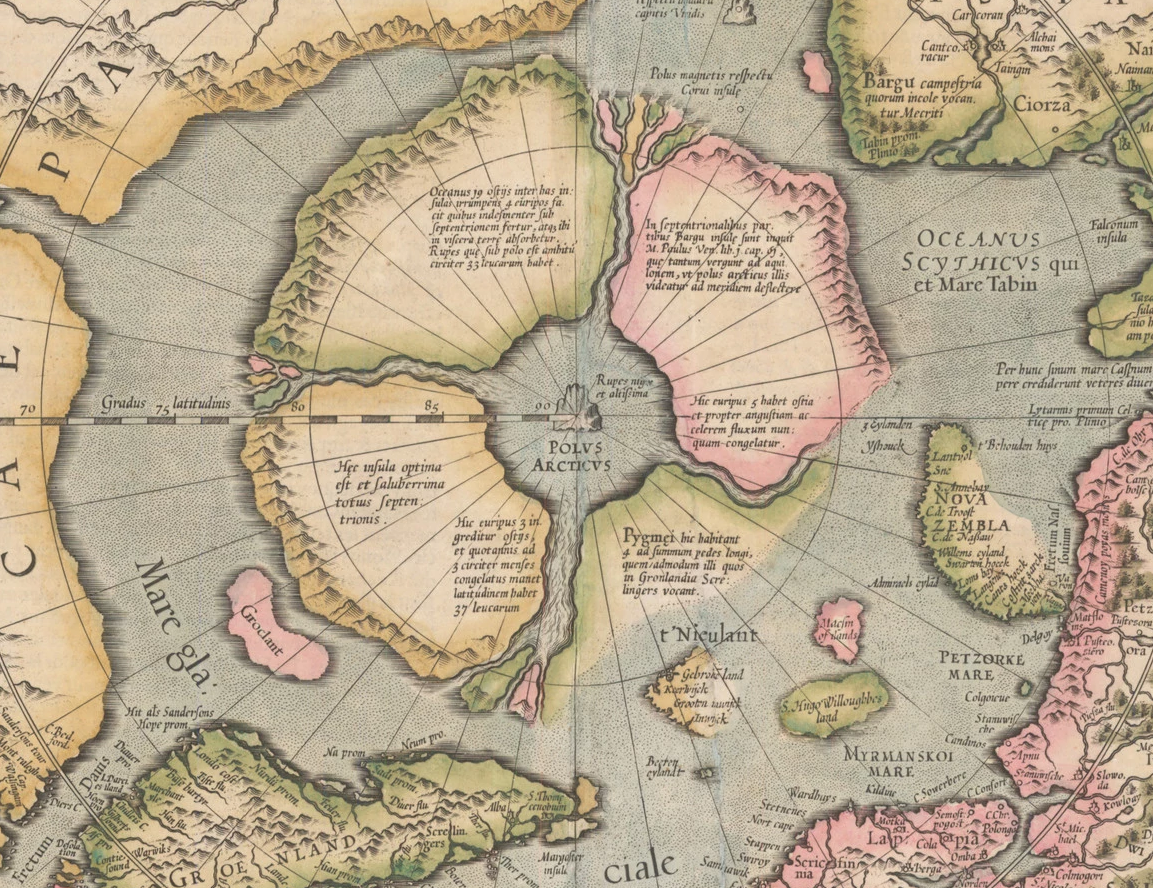 North Pole | Insert in Mercator's World Map (1569)