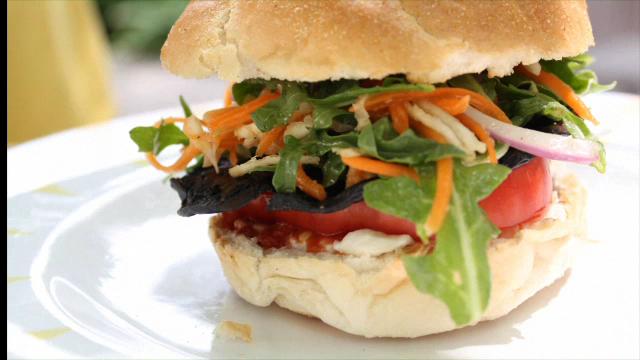 Portobello-Arugula Salad Burger