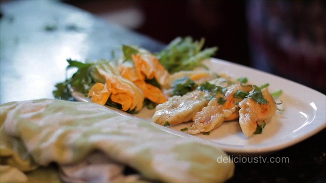 Yoli's Stuffed Zucchini Blossoms with Truffle Oil
