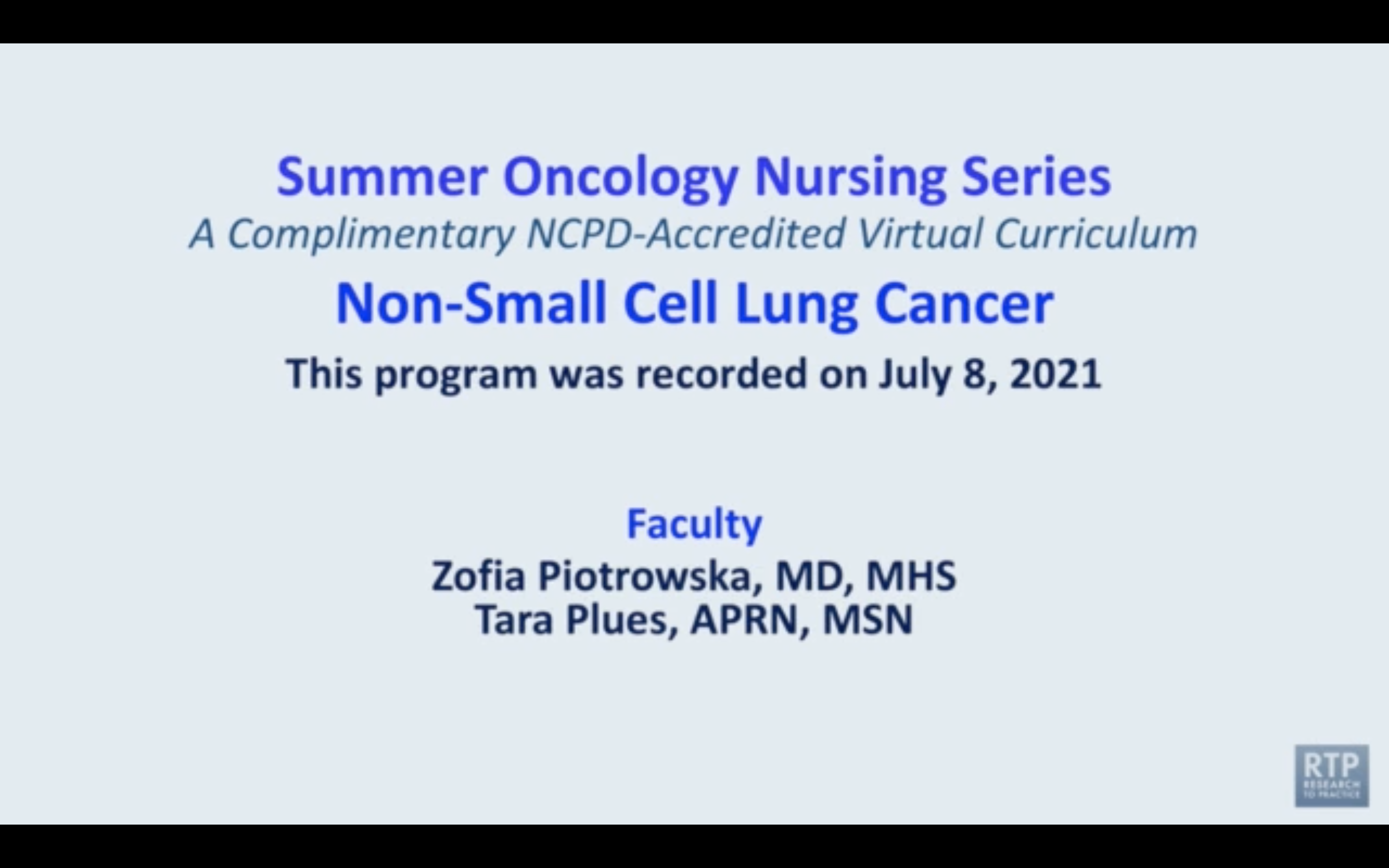 Artwork for Non-Small Cell Lung Cancer | Summer Oncology Nursing Series: Non-Small Cell Lung Cancer