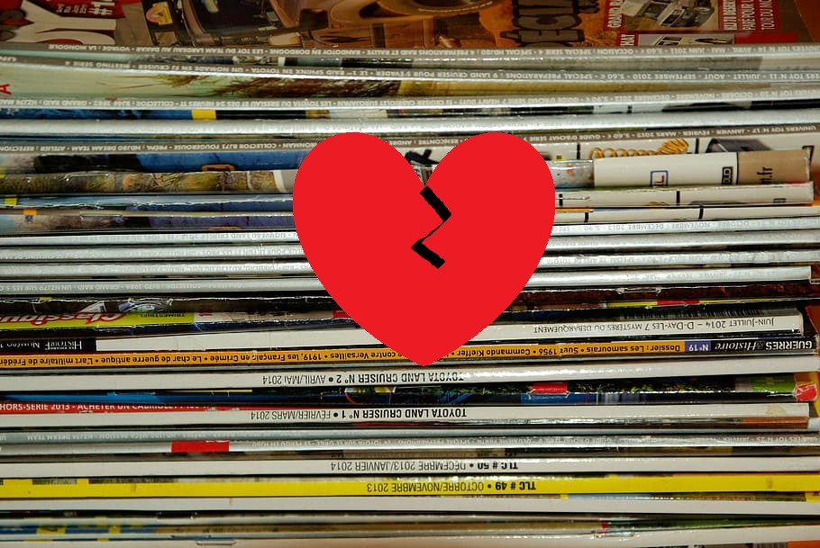 magazines with broken heart
