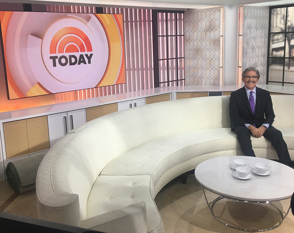Geraldo from the set of the Today show where he appeared 2/17/2017 with Matt Lauer.