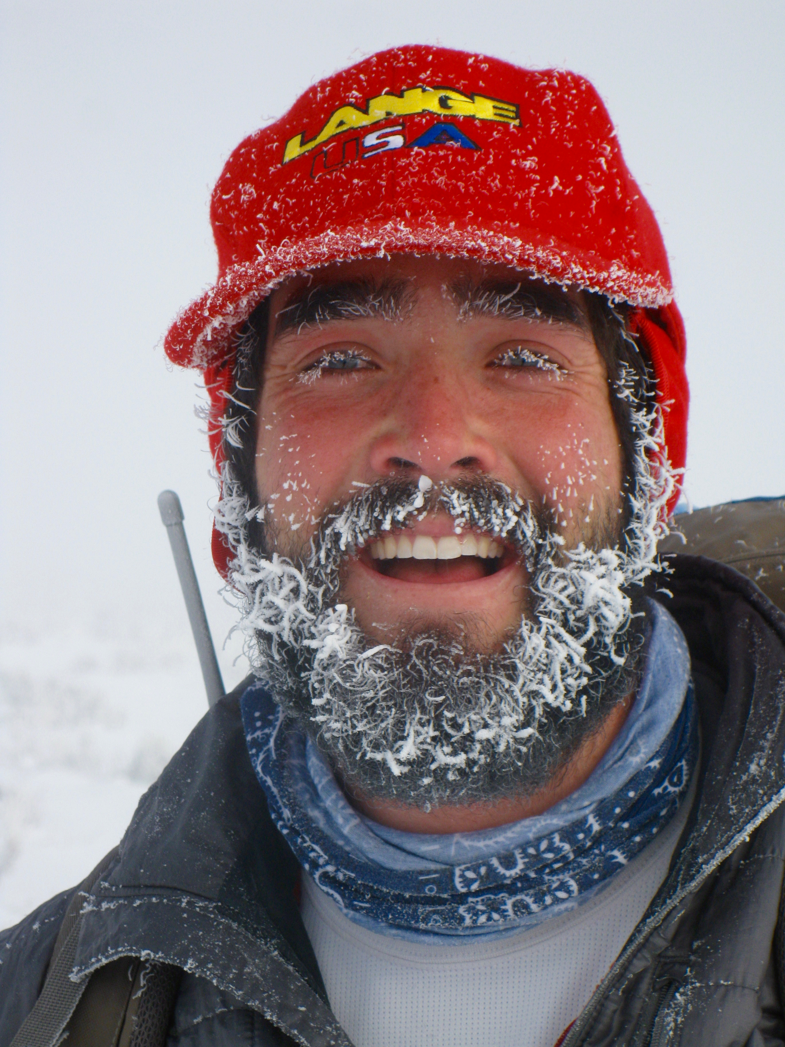 colby with frozen beard after picking up frozen wolf body at Yellowstone