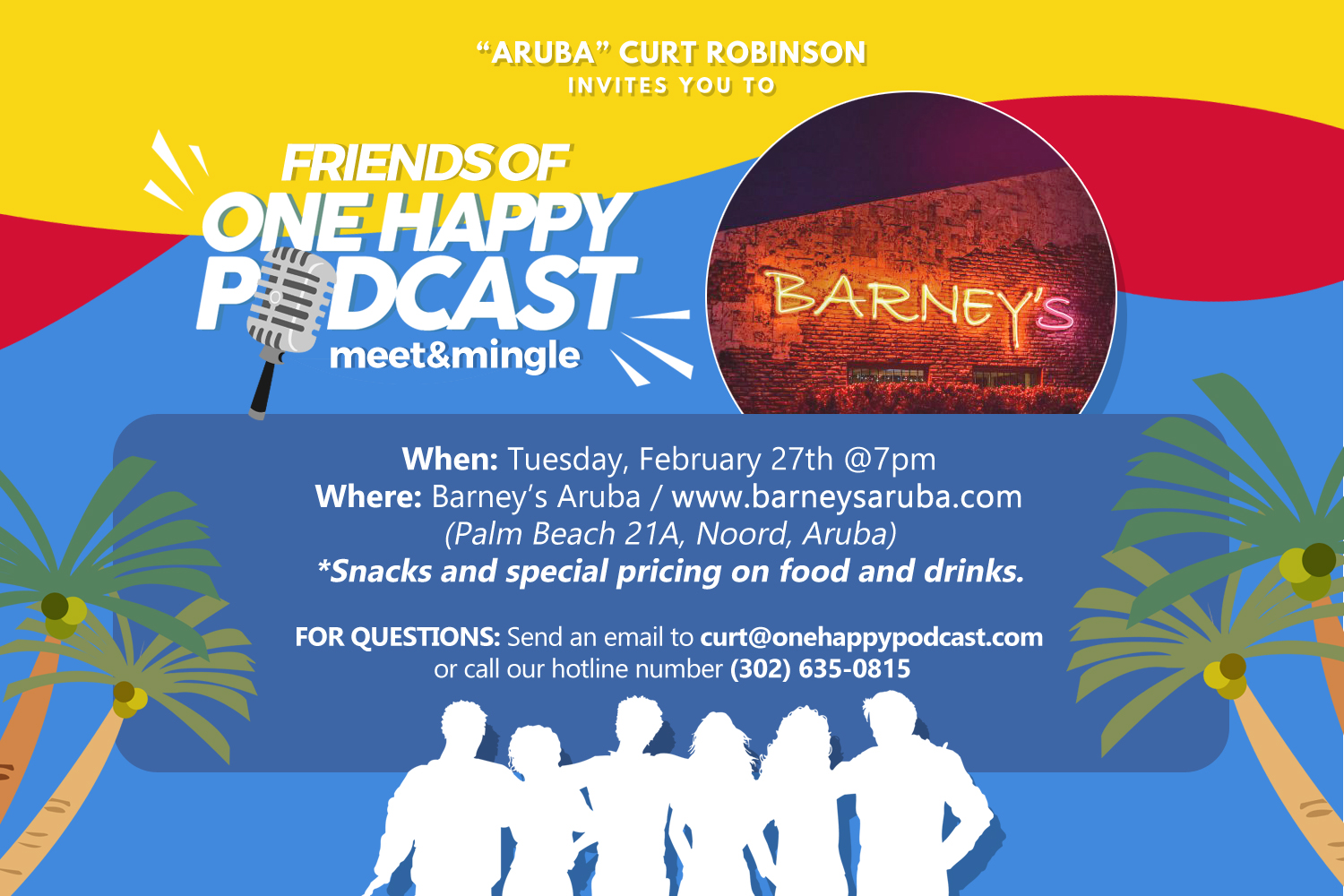One Happy Podcast Meet and Mingle at Barney's Aruba