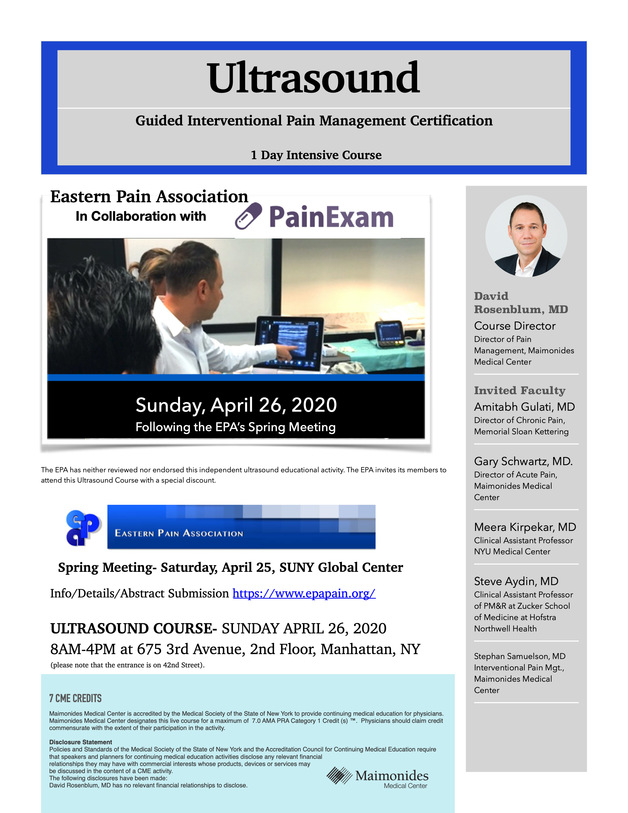 EPA PainExam Ultrasound Course April 26, 2020