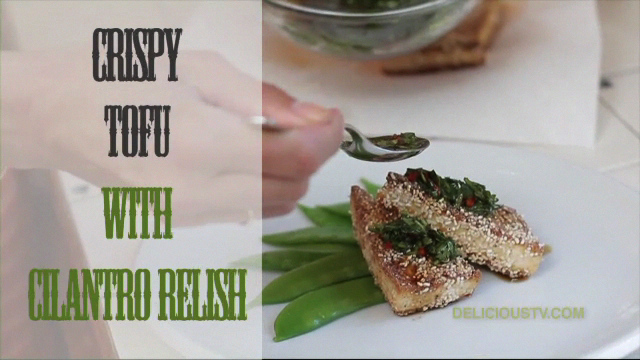 Crispy Tofu with Cilanro Relish