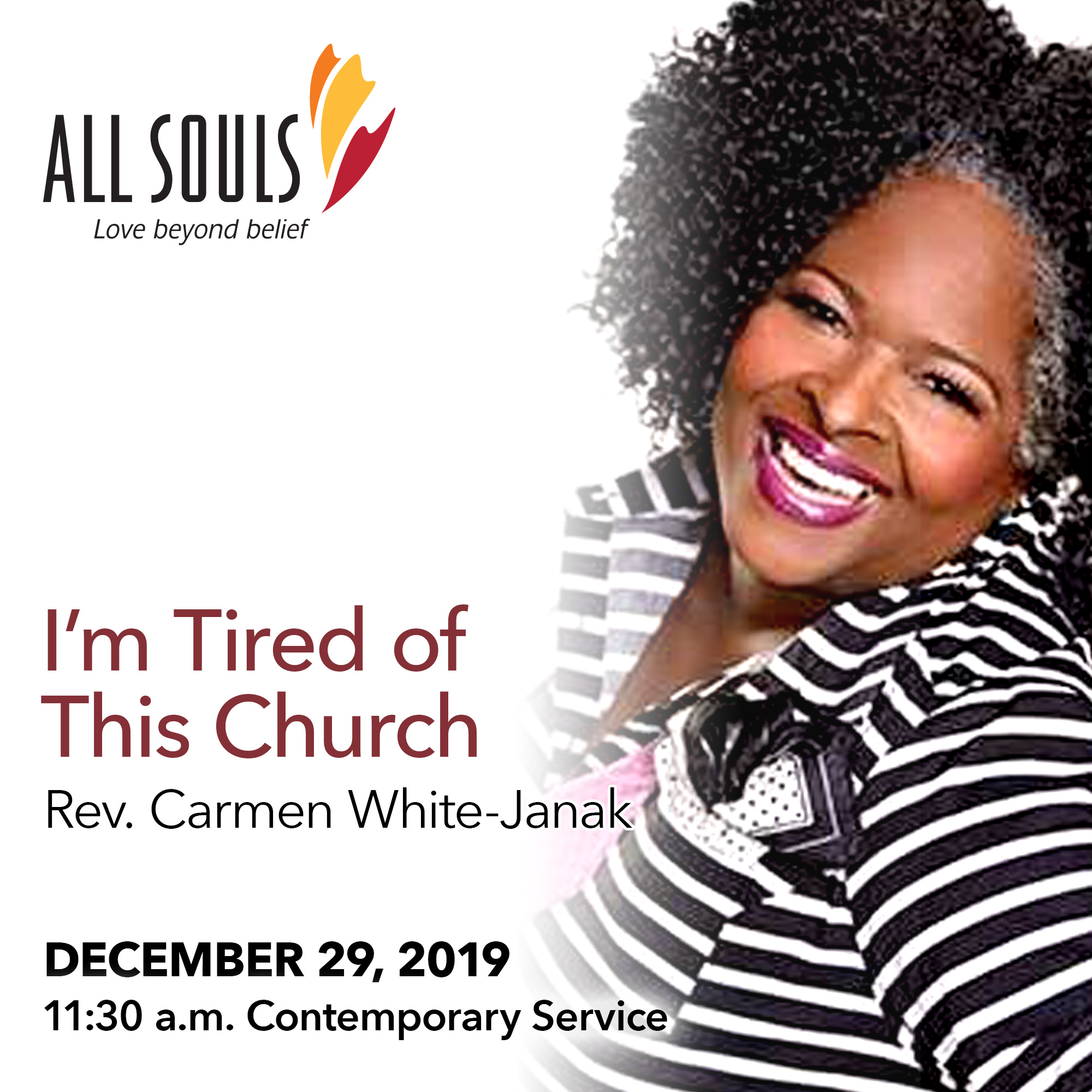 'I'M TIRED OF THIS CHURCH' - A sermon by Rev. Carmen White-Janak (Contemporary Service) show art