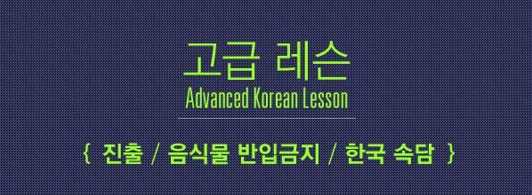 Advanced Korean Lesson (고급 레슨) – 진출, 반입금지, 한국 �담