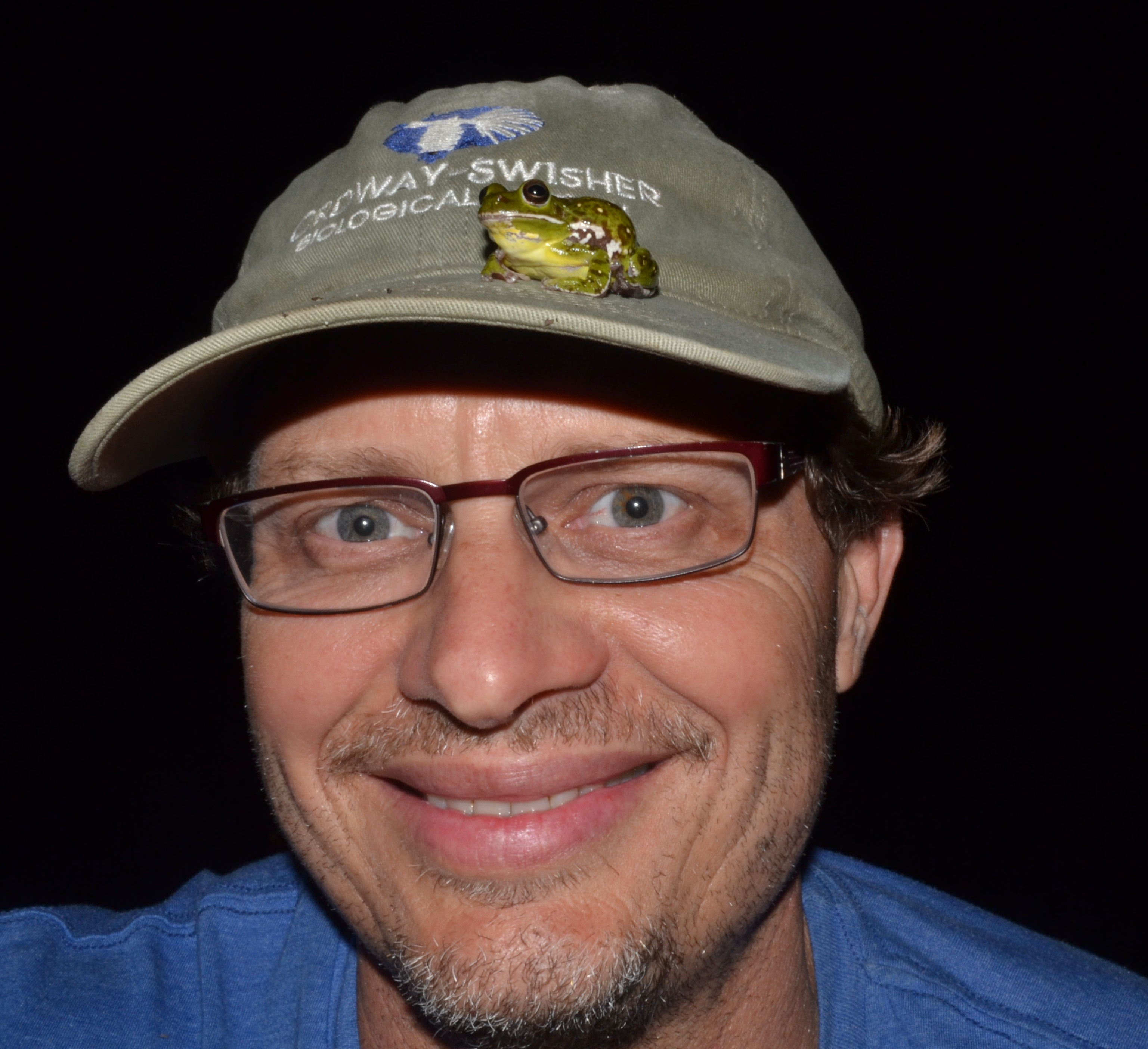 Steven Johnson with barking frog on his hat.