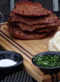 Flank Steak Fajitas Adobo with Mango Strawberry Salsa