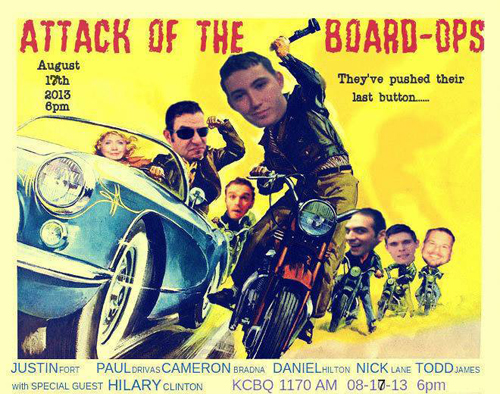08.17.13: Attack of the Board Ops! 100%-Everything, with Check-Engine Lights, the Bear Patrol, Mad Max, Tanks, Failner, Nickname Origins, Celeb Bashing and Honda in F1