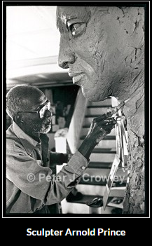 black and white photo of sculptor Arnold Prince by Peter J. Crowley