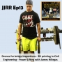 Artwork for JJRR Ep13 Drones for bridge inspection - 3D printing in Civil Engineering - Power lifting with James Hillegas