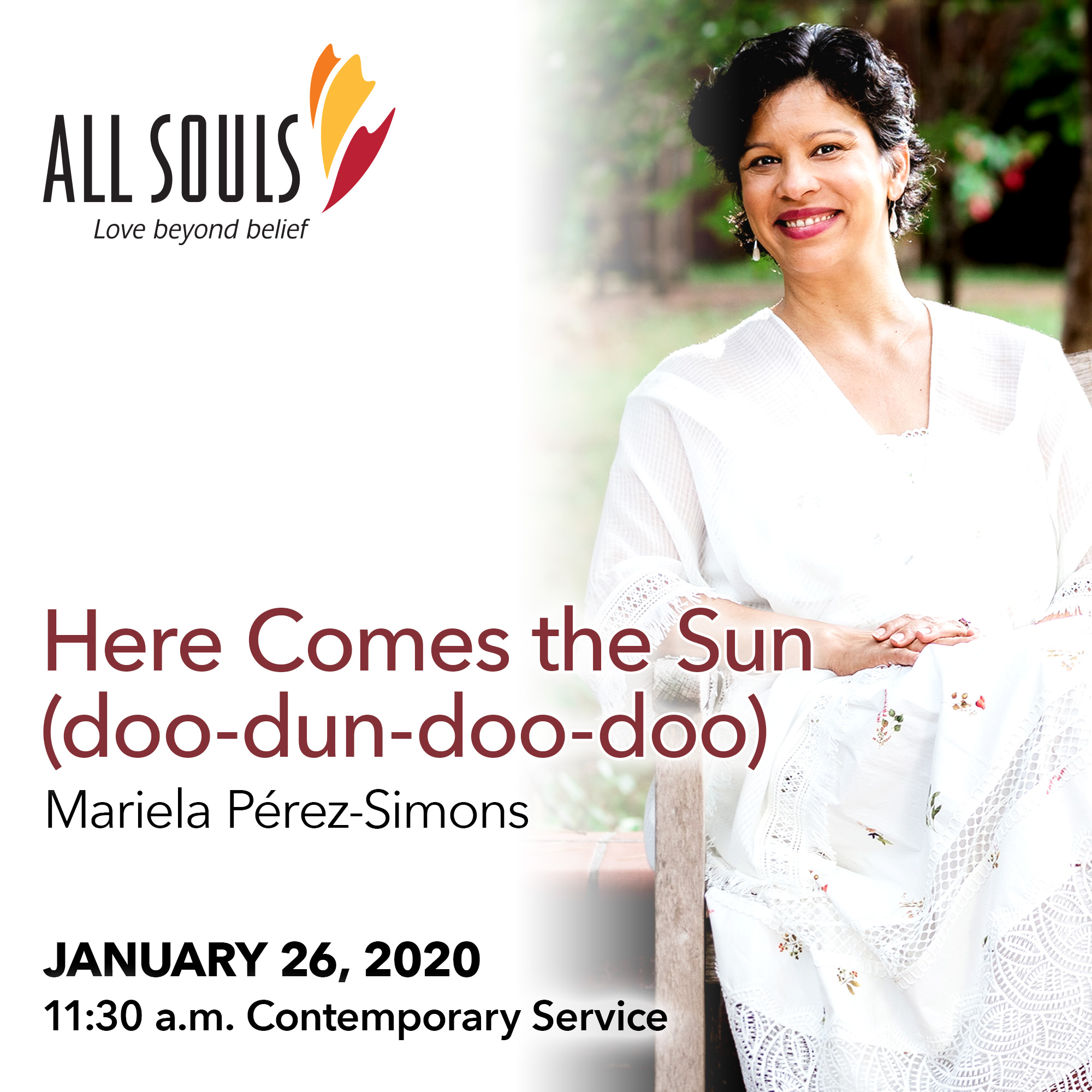 'HERE COMES THE SUN (DOO-DUN-DOO-DOO)' - A sermon by Mariela Pérez-Simons (Contemporary Service) show art