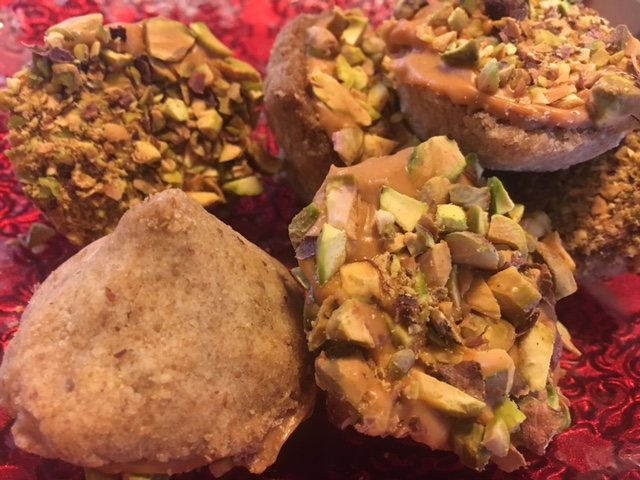 Butterscotch acorns with pistachios and brown butter