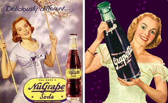Classic advertising shows pretty girls enjoying NuGrape and Grapette sodas