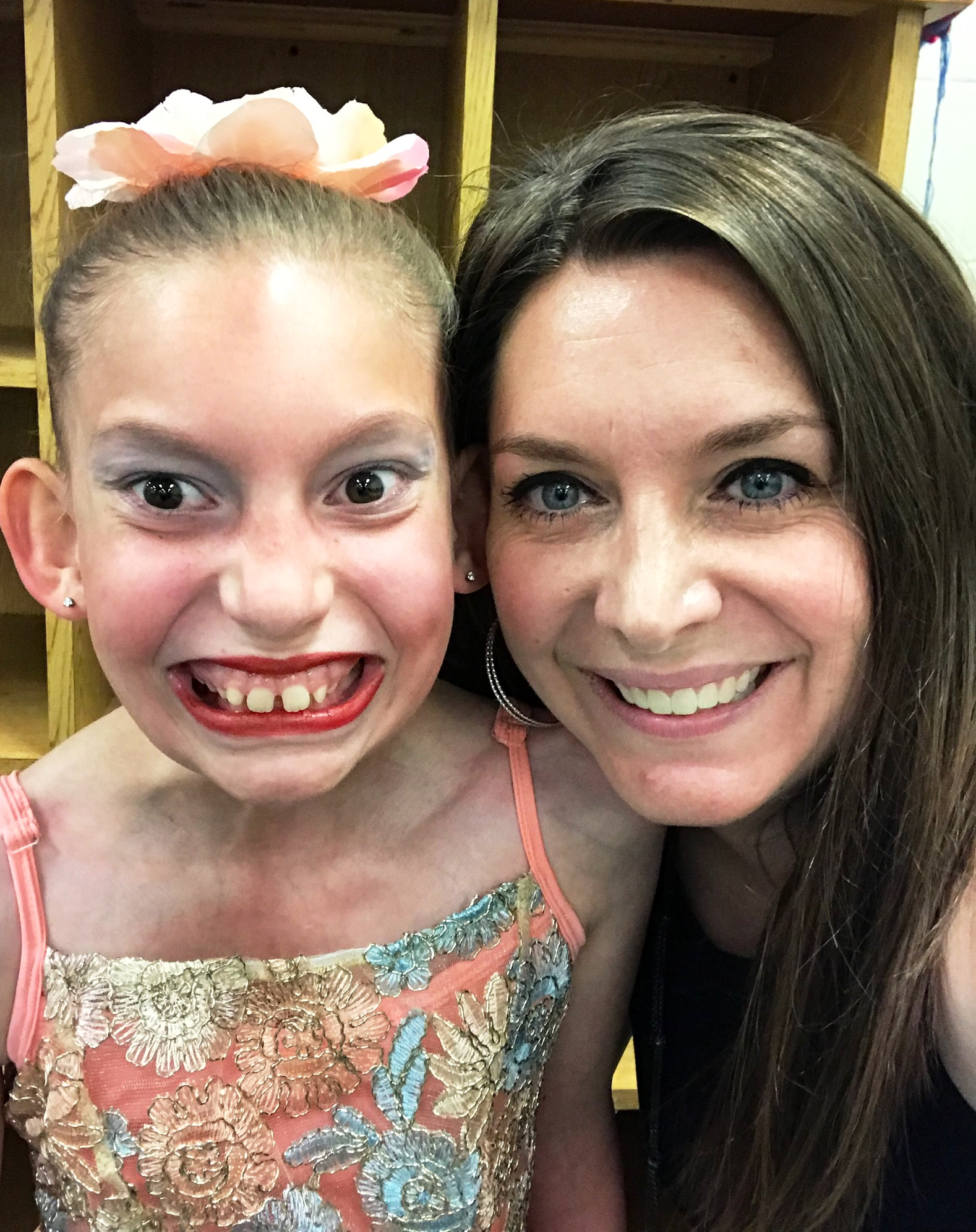 Mia and her daughter, Evalyn, who is dressed for a dance recital
