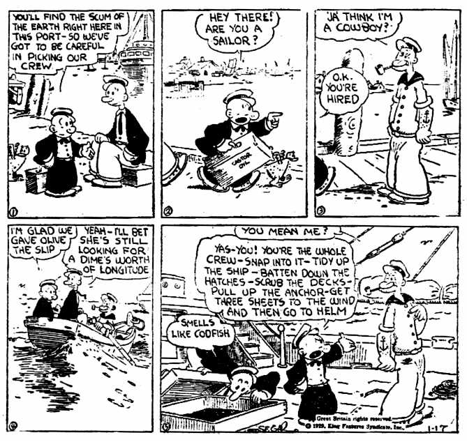 By popular demand: Very first appearance of Popeye - Jan. 17, 1929
