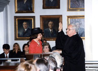 Justice Kogan taking the oath