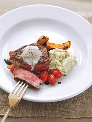 Recipes of the Week: Tenderloin Steak with Goronzola Butter, Grilled Broccoli and Roasted Garlic Mashed Potatoes
