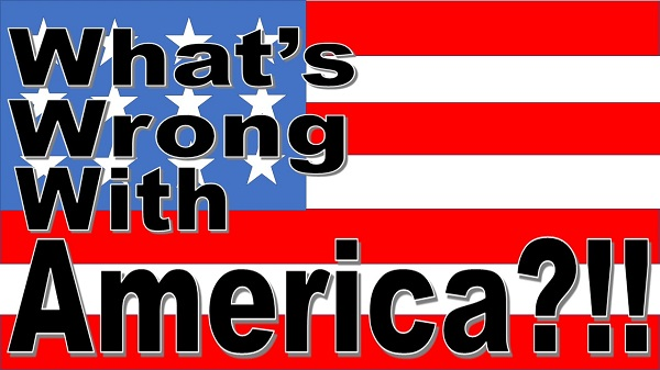 What's Wrong With America? podcast artwork: American flag with text image