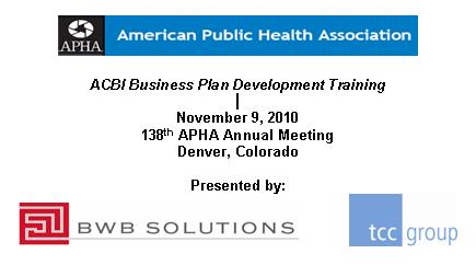 ACBI Business Plan Development Training- November 9, 2010