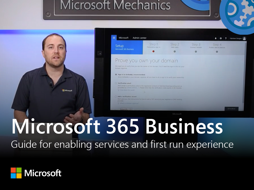 Artwork for Microsoft 365 Business: Step-by-step guide for enabling services and first run experience