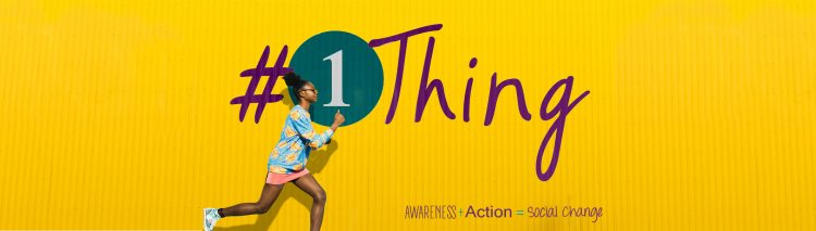 Yellow background with the #1Thing logo and a young girl of color jogging in the foreground.