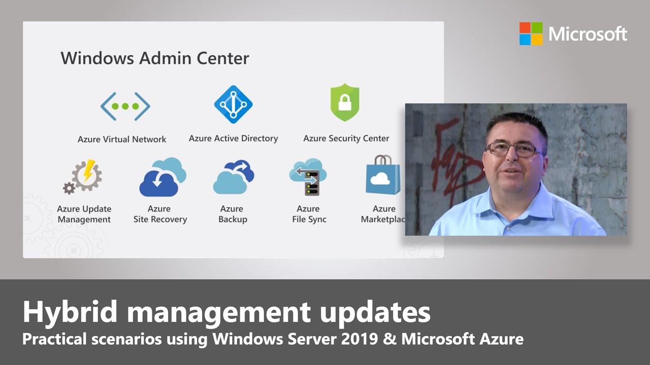 Artwork for Windows Server 2019 + Microsoft Azure = hybrid management updates