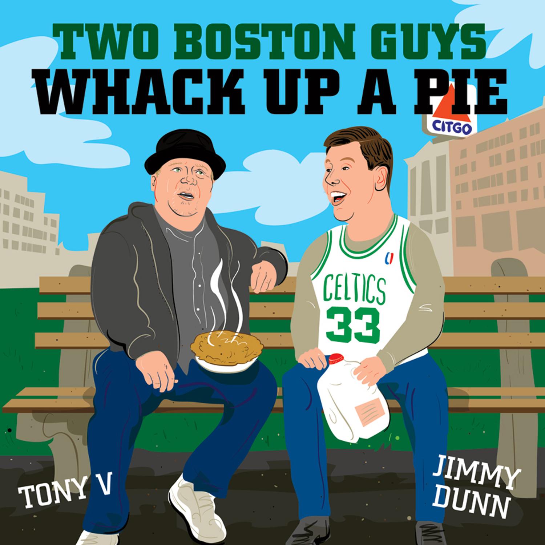 Two Boston Guys Whack Up A Pie show art