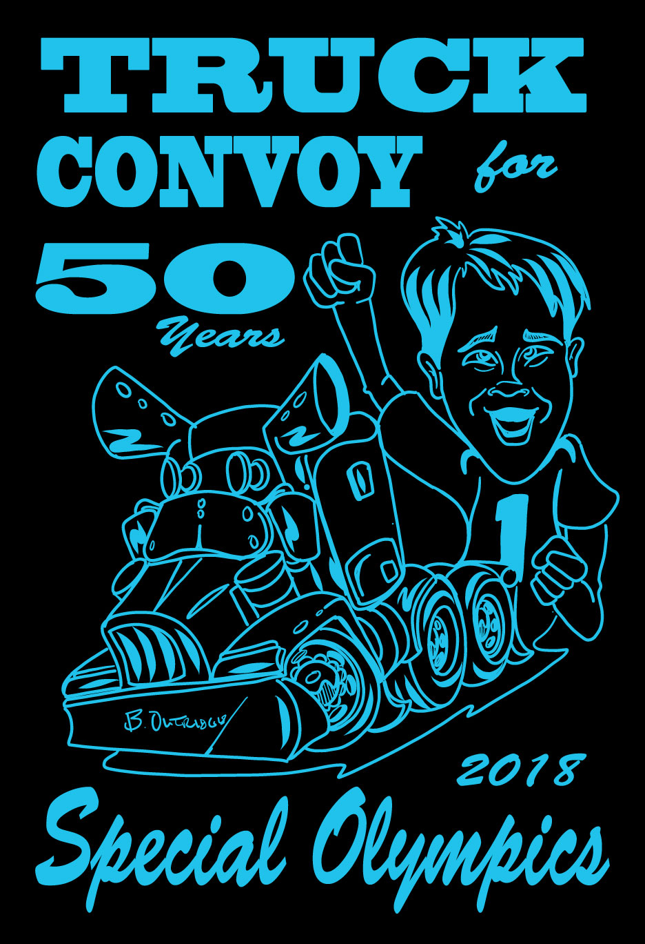 Truck Convoy for Special Olympics 2018 T-Shirt Design
