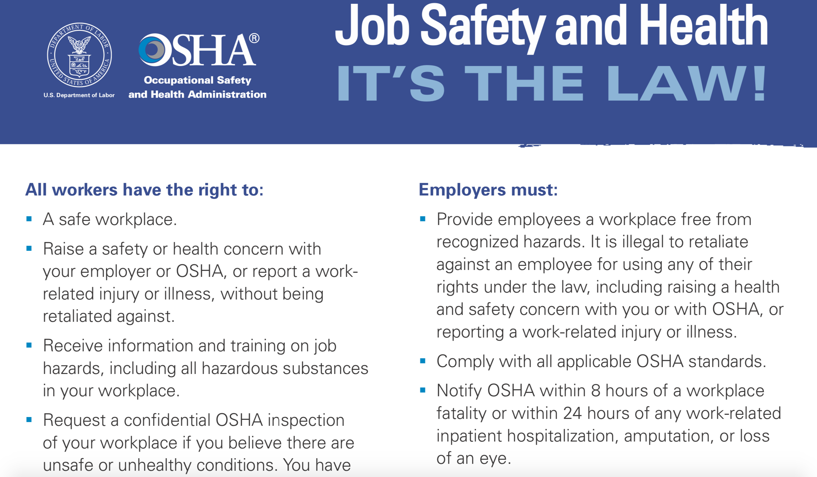 OSHA Workplace Safety Poster