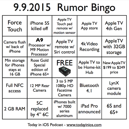 September 9th 2015 Rumor Bingo Card