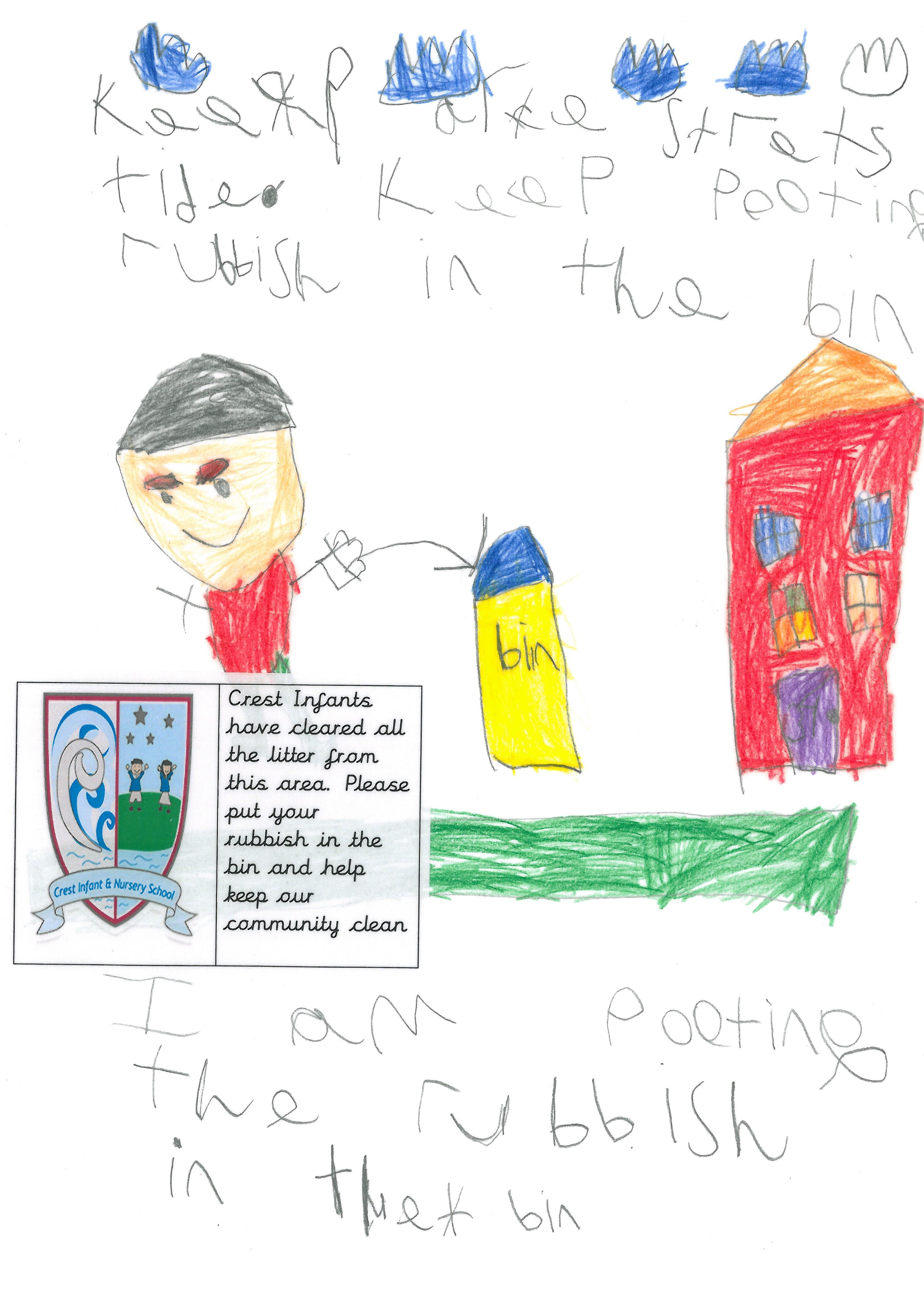 Child drawing 1 - community litter pick
