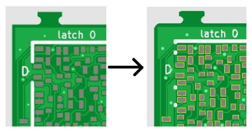 Clipped silkscreen (left/right = pre-rendering vs actual PCB)