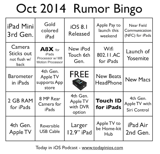 Oct 2014 Apple Event Rumor Bingo