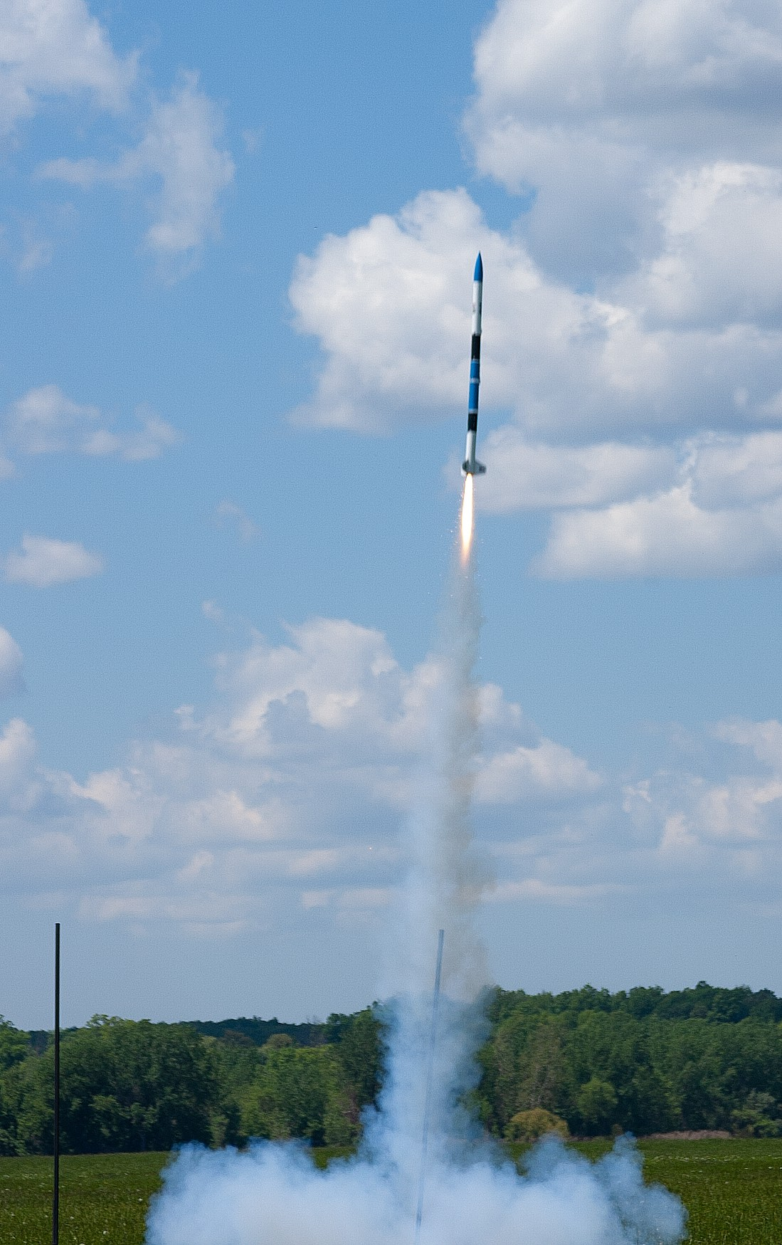 CG's Ares rocket lifting off again after a night of sitting out in the field somewhere during intense thunderstorms.