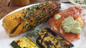 Recipes of the Week: Spicy Alder-Planked Wild Salmon with Avocado Mayo, Coriander Buttered Grilled Corn and Curried Zucchini Planks