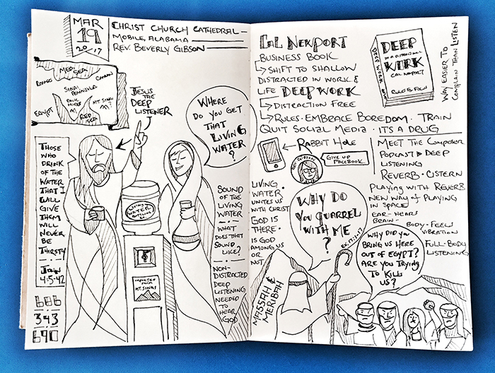 Sabbadoodle - sketchnote army - pulpit to pew - johnny gwin - Living Water - Christ Church Cathedral