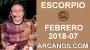 Artwork for ESCORPIO FEBRERO 2018-07-11 al 17 Feb 2018-Amor Solteros Parejas Dinero Trabajo-ARCANOS.COM