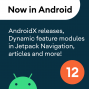 Artwork for 12 - AndroidX releases, dynamic feature modules in Jetpack Navigation, articles on Kotlin inline classes and Android styling, and more!