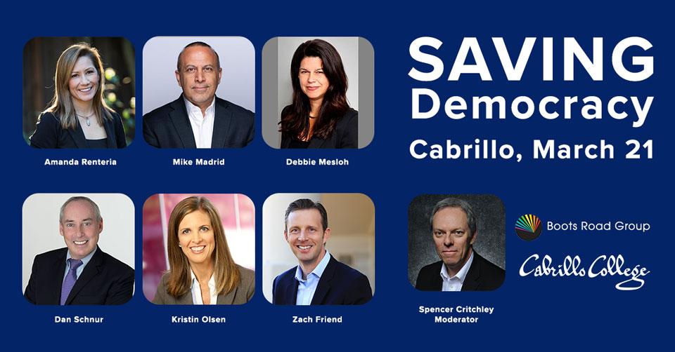 Saving Democracy: The Way Forward card with photos of panelists