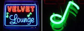 Neon lights at new Velvet Loung display club name and a music note