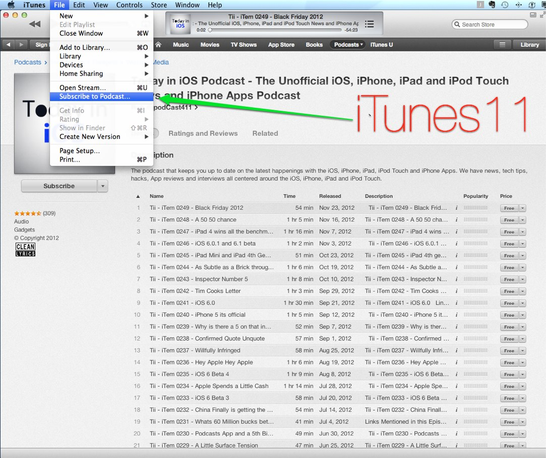 new way to manually subscribe to a podcast on iTunes 11