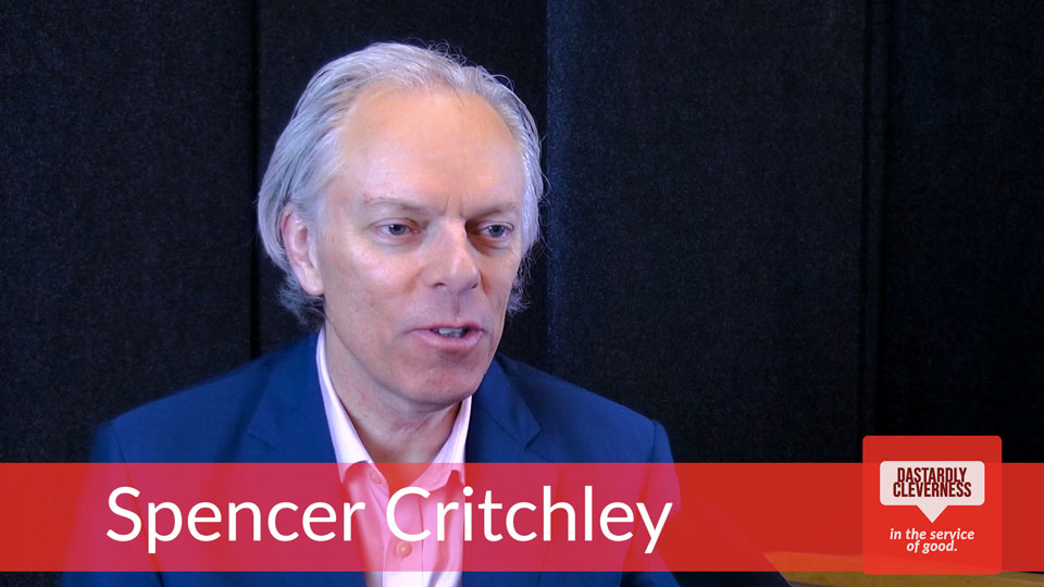 Still frame from video of Spencer Critchley teaching social marketing