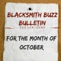 Artwork for **Blacksmith Buzz Bulletin** For the month of Oct 2018