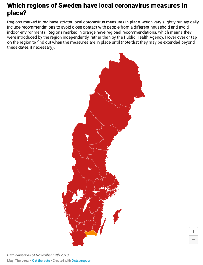By mid-November, Sweden had to implement restrictions they had previously avoided in order to curtail transmission.