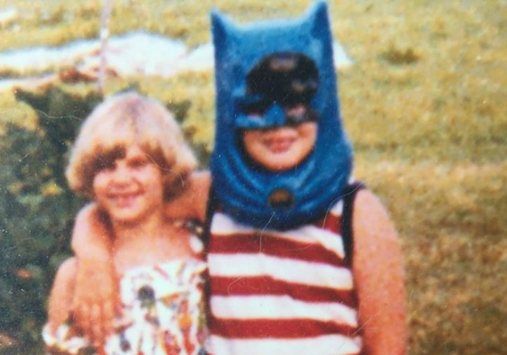 JB (right w/cowl) with his sister, Janet. Summer '76