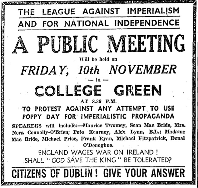 Poppy Snatching: Armistice Day Confrontations in Dublin
